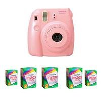FujiFilm Instax Mini 8 Camera, 62x46mm Picture Size, Pink - Bundle - with Five TwinPacks of Fujifilm Instax Mini Instant Daylight Film, 20 Exposures (Total 100 Sheets)