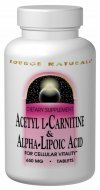 Source Naturals Acetyl L-Carnitine and Alpha Lipoic Acid, 650mg, 120 Tablets