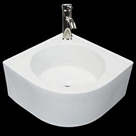 Corner Sinks White Vitreous China, Melinda White Corner Wall/Over Counter Sink