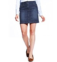 M&S Collection Cotton Rich Washed Look Denim Mini Skirt