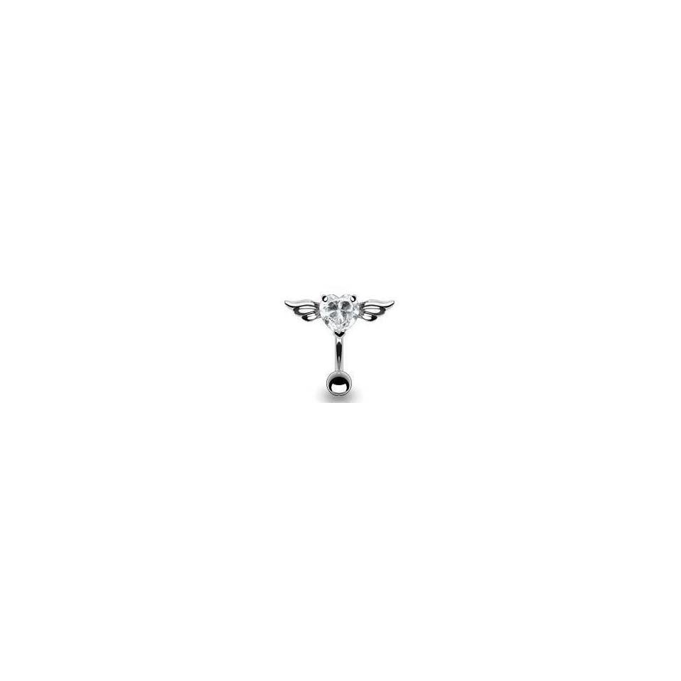 14g Surgical Steel Clear Reverse Heart Sexy Belly Button Navel Ring Body Jewelry Piercing with Angel Wings Non Dangle 14 Gauge 3/8 Nemesis Body JewelryTM