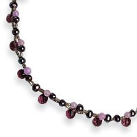 Sterling Silver Amethyst/Lavender Agate/Gray Cultured Pearl Necklace - QH2082-16