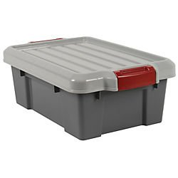 Office Depot Plastic Storage Tote, 3 Gallons, Gray, 251311