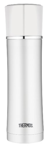 Thermos 17-Ounce Vacuum Insulated Stainless Steel Briefcase Bottle, White front-919543