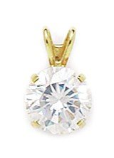 14k Yellow Gold 8mm CZ Round Pendant - Measures 13x8mm - 13 Inch - JewelryWeb