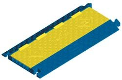 Hubbell Wiring Systems HBLTRED5B TredTrak Cast Polyurethane Modular Cable Protection System Trak 5 Channel 36 Length x 17-1/2 Width x 1-61/64 Height Blue/Yellow<br />