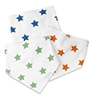 3 Pack Pure Cotton Star Dribble Bibs