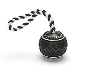 Pup Treads Rubber Ball with Rope Dog Toy