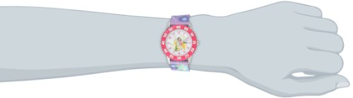 Disney Kids' W000271 Fairies Stainless Steel Time Teacher Watch with Patterned Strap