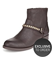 M&S Collection Metal Trim Biker Ankle Boots with Insolia®