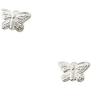 Genuine IceCarats Designer Jewelry Gift 14K White Gold Youth Butterfly Earring. Pair 04.50X06.50 Mm Youth Butterfly Earrings In 14K White Gold