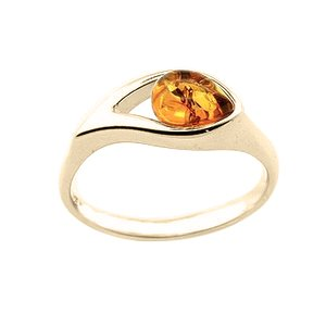 18ct gold generously plated amber ring hidden gem