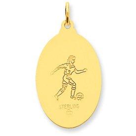 24k Gold-plated Sterling Silver Saint Christopher Soccer Medal