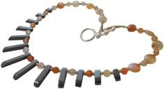 Semi Precious Necklace featuring Carnelian and Haematite. Orange, Grey, Silver.