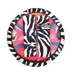 Animal Print Steering Wheel Cover and Shoulder Belt Pad - White Tiger Zebra