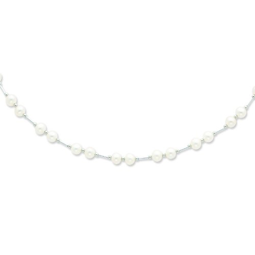 Silver 6-6.5mm White Freshwater Cultured Pearl Necklace. 18in long Necklace.