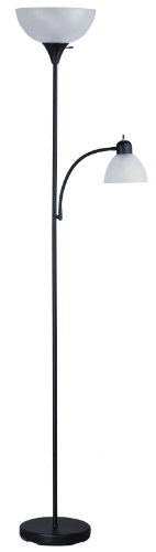 Park Madison Lighting PMF-9170-31 72-Inch Tall 150-Watt Torchiere Floor Lamp with Adjustable Reading Side Arm Lamp, Black Finish with Frosted Shade
