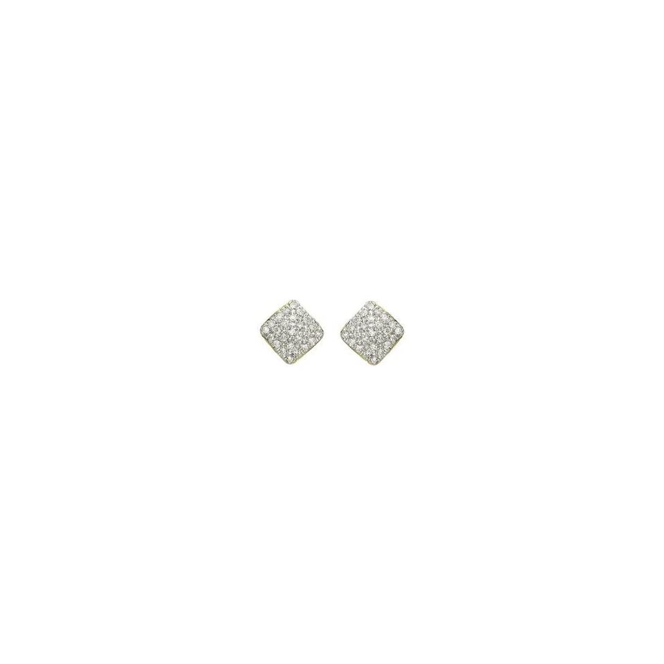 Yellow Gold Pave Set Round Diamond Square Earrings