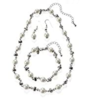 Faux Pearl Diamanté Necklace, Bracelet & Earrings Set