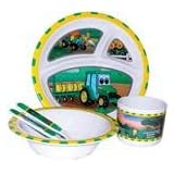 John Deere-Johnny Tractor and Friends 5-Piece Children's Melamine Tableware Set