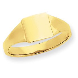 14k Square Signet Baby Ring  Size 4  JewelryWeb
