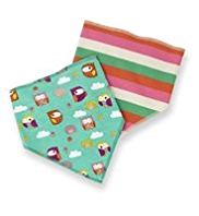 2 Pack Owl & Striped Bibs