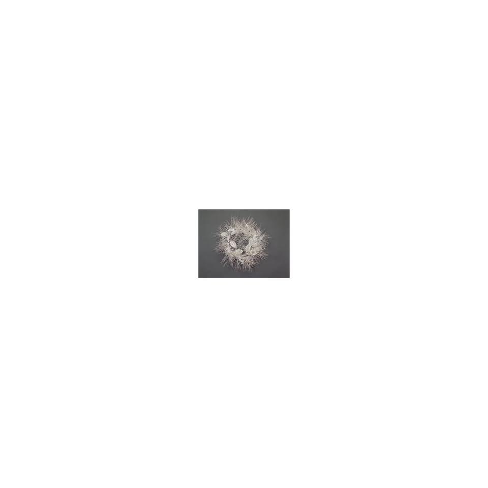 2 Snow Drift White/Silver Glittered Needle/Leaf/Berry Wreaths