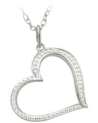 Ladies Genuine Sterling Silver Diamond Heart Pendant with 20 inch chain