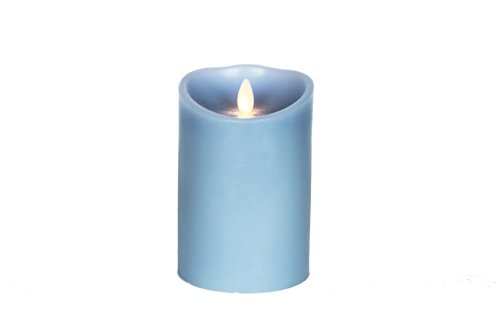 Gki/Bethlehem Lighting Luminara Wax Candle, 3.5 By 5-Inch, Sky Blue