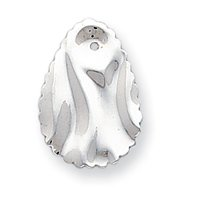 14k White Gold Polished Hammered Oval Earrings Jackets - JewelryWeb