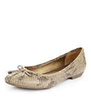Footglove™ Leather Wide Fit Snakeskin Print Ballerina Shoes