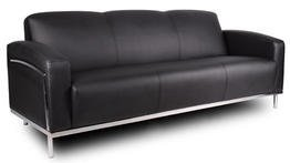 Boss Office Products BR99003-BK CaressoftPlus Sofa with Chrome Finish in Black