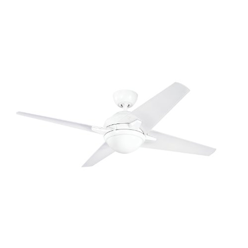 Kichler Lighting 300133Wh Rivetta 52-Inch 1-Light Energy Star Ceiling Fan, White Finish With Clear White/Silver Blades front-973990