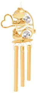 24K Gold Plated Wind Chime Sun Catcher or Ornament..... Bear holding Heart With Clear Swarovski Austrian Crystal