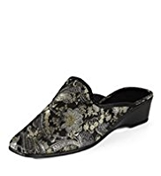 Classic Paisley Embroidered Wedge Mule Slippers
