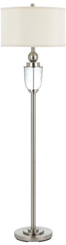 Cal Lighting Bo-2335Fl Oblique Glass Floor Lamp With 1-Watt Led Night Light, 100-Watt, Rubbed Matte Steel/Glass