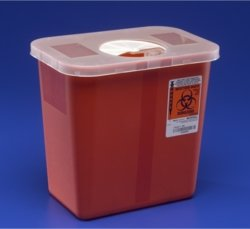 Kendall Sharps Container with Rotor Lid - 2 Gallon
