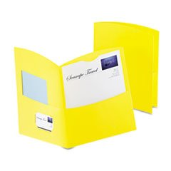 * Contour Two-Pocket Recycled Paper Folder, 100-Sheet Capacity, Yellow *