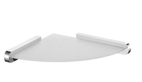 bisk-02984-futura-etagere-dangle-en-verre-givre-avec-support-argente-finition-chrome-24-x-24-x-34-cm
