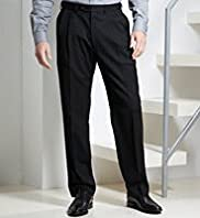 Big & Tall Supercrease Active Waistband Twin Pleat Trousers with Wool