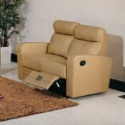 BH Design Leather Match Loveseat with Recliners, Brown