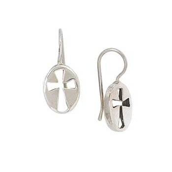 Sterling Silver Cross-Centered Oval Earrings