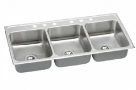 Elkay top mount triple bowl kitchen sink LTR46226 6 Holes