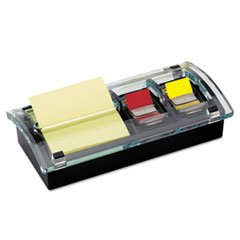 ** Note and Flag Dispenser, 3 x 3 Canary Notes and Assorted Flags, Black Dispenser **