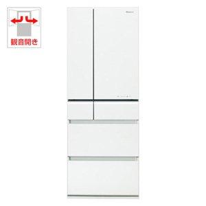 パナソニック 505L 6ドア冷蔵庫(スノーホワイト)Panasonic エコナビ ナノイー フルフラットガラスドア NR-F518XG-W
