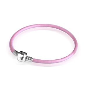 Bling Jewelry Pink Leather Sterling Silver Barrel Clasp Bracelet Pandora Chamilia Bead Compatible 7""