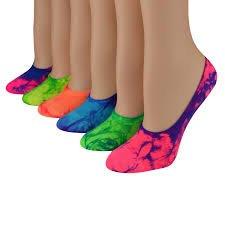 Sof Sole Women's 6-Pack Neon Tie Dye No Show Footie Multi