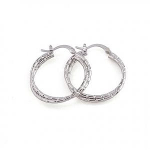 18K White Gold GP Twisted Hoop Earrings 45mm
