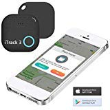 Key Finder Locator - iTrack 3 Bluetooth Key Tracker Item Finder Anti-Lost Motion Alert Bidirectional Find Battery Replaceable for Keychain, Phone, Wallet, Luggage and Any Small Device, Black (Color: Black)