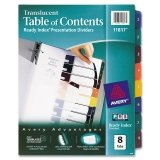 Avery® Ready Index® Translucent Multicolor Table of Contents Dividers DIVIDER,RDY INDX,8TB,AST 33723DL